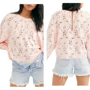 FREE PEOPLE Olivia Lace Top Long Sleeve Pink NWT